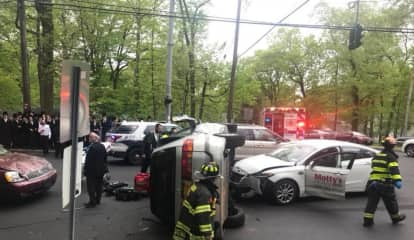 Injuries Reported In Three-Car Rockland Rollover Crash