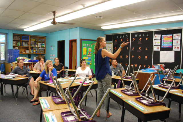 School teachers and professional staff gathered in small and big groups to collaborate during a Sept. 19 early release day at Hendrick Hudson School District schools.