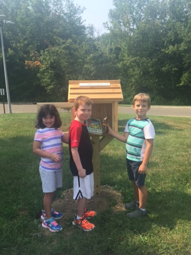 Meadow Pond Elementary School students check out Max's Little Free Library, an outdoor structure in Lewisboro filled with books to borrow and share.
