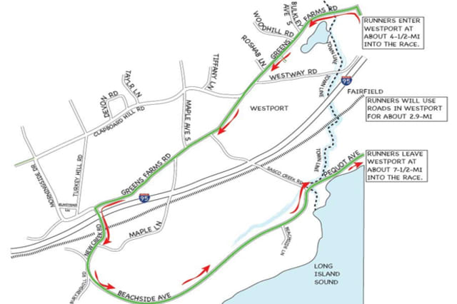 A map shows the route the Fairfield Half Marathon will travel in Westport Sunday morning.