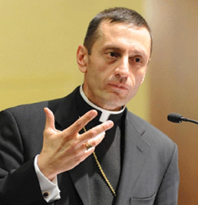 Bishop Frank Caggiano will speak to Catholic worshipers in Norwalk on Feb. 13.