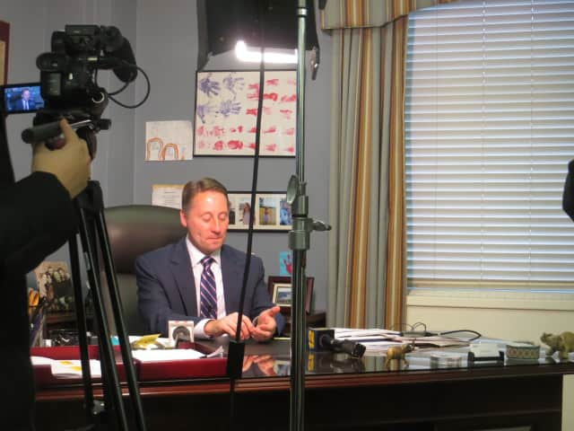 Westchester County Executive Rob Astorino prepares for an impromptu news conference at his White Plains office on Tuesday. He said he fully intends to run for a third four-year term this year.