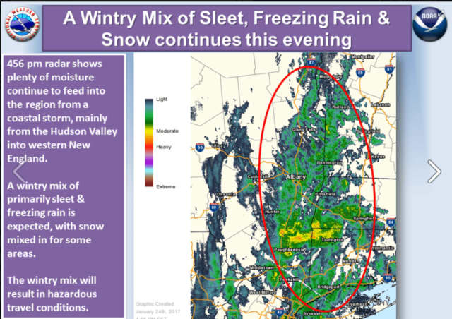 Sleet will create slippery driving condition Tuesday night into early Wednesday morning.