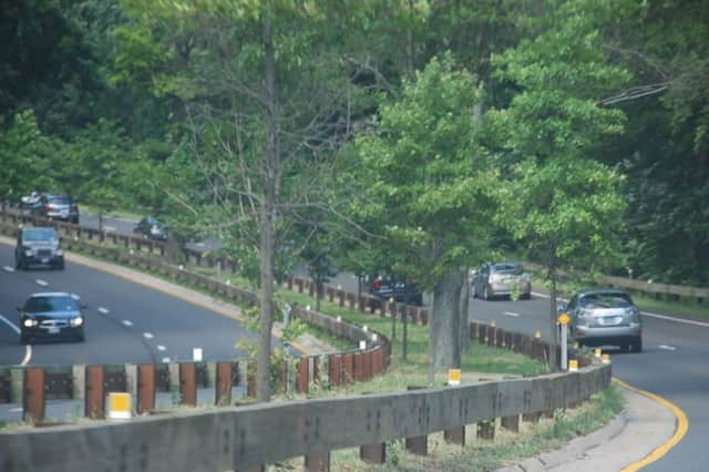 A crash was reported on the Merritt Parkway in Greenwich.