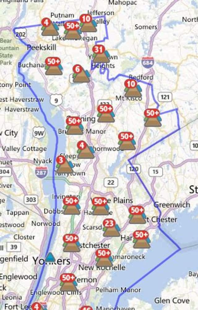 More than 1,000 Rivertowns customers were without power Tuesday morning.