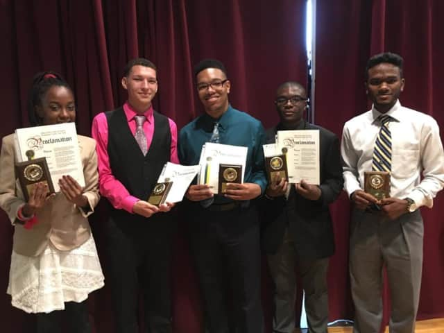Faith Creighton, Devin Guardino, Jovanny Elliot, Joseph Muschette, Adrian McCalman and Briayanna Johnson (not pictured) were honored by the Black Scholars Community Partnership, Manhattanville College and the Urban League of Westchester.