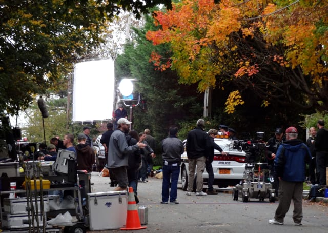 """Film crews brought in police cars to be featured in the pilot """"The Secret Lives Of Husbands And Wives"""" that was filmed in Bronxville."""